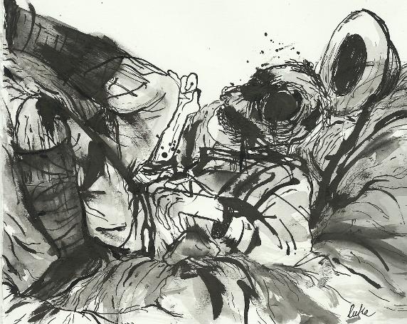 illustration of dead soldier