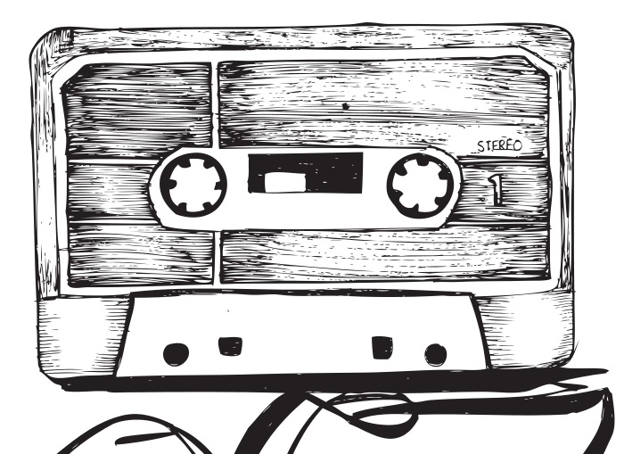 Line drawing of cassette tape