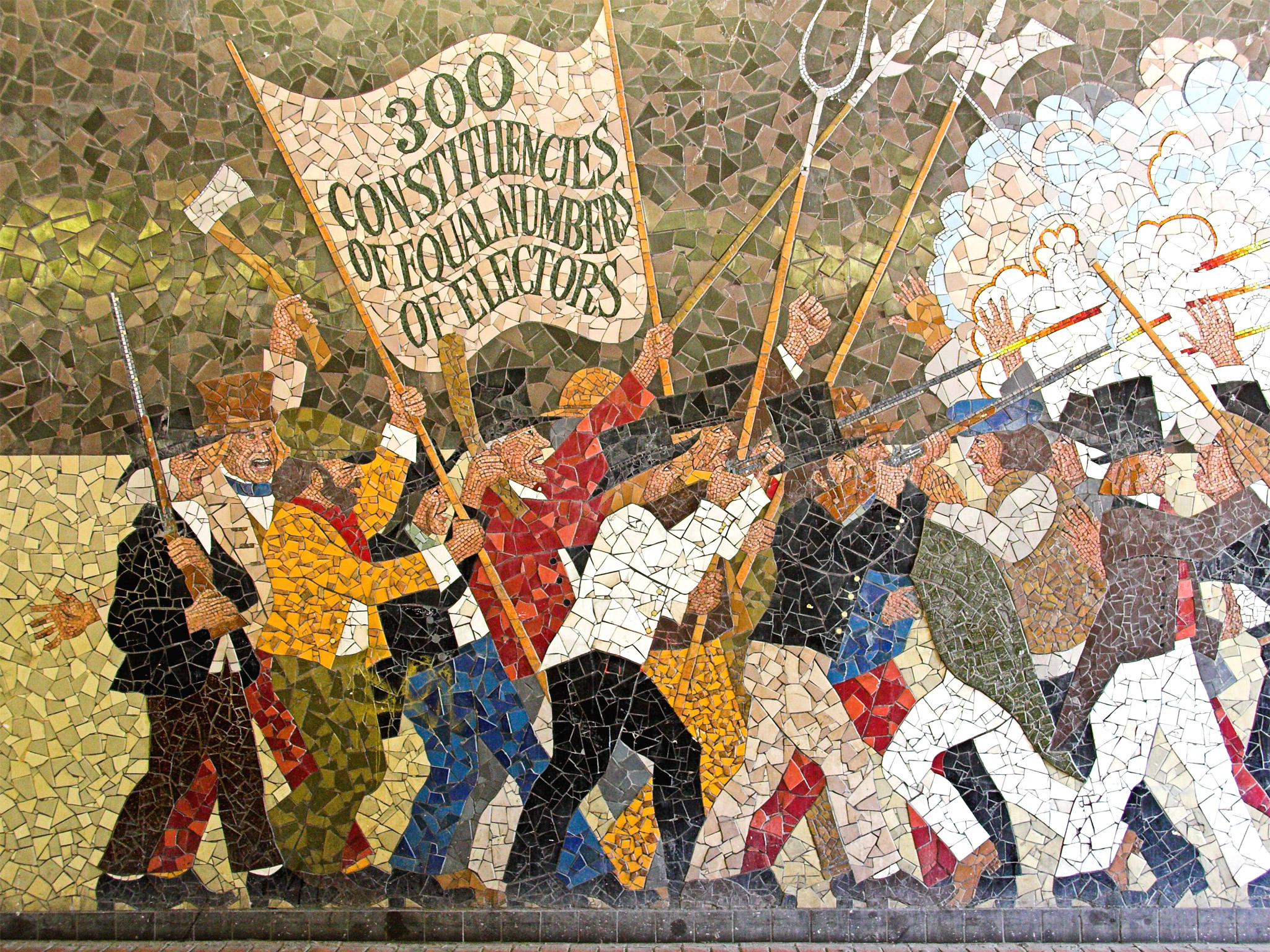 From ribbons to reform lookleft for Chartist mural newport