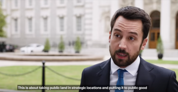 """A photo Minister Murphy launching the Land Development Agency at Government Buildings with the subtitle """"This is about taking public land in strategic locations and putting it to public good""""."""